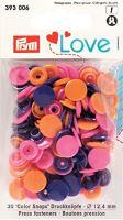 Prym LOVE plastové patentky Color snaps kulaté růžová oranžová fialová