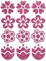 Nažehlovací aplikace třpitivá kytičky 2 růžová