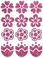 Nažehlovací aplikace třpytivá kytičky 2 růžová