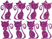 Nažehlovací aplikace třpitivá kočičí pár fialová