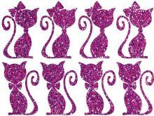 Nažehlovací aplikace třpytivá kočičí pár fialová