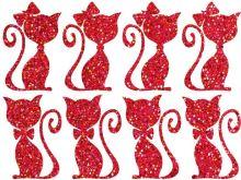 Nažehlovací aplikace třpytivá kočičí pár červená