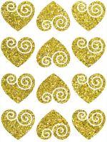 Nažehlovací aplikace třpitivá srdíčka 2 zlatá