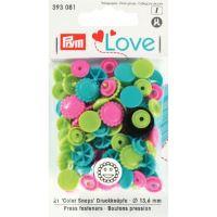 Prym LOVE plastové patentky Color snaps květiny růžovo-tyrkysovo-zelené