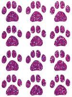 Nažehlovací aplikace třpytivá psí stopy fialová