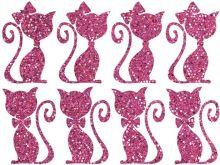 Nažehlovací aplikace třpitivá kočičí pár růžová