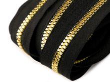 Zip kostěný v metráži 5mm černo-zlatý