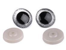 Bezpečnostní oči velké s glitry O40 mm stříbrná