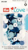 Prym LOVE plastové patentky Color snaps bílá, sv. modrá, tm. modrá