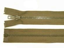 Zdrhovadlo zip kostěný 30 cm dělitelný khaki