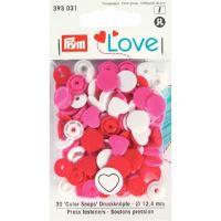 Prym LOVE plastové patentky Color snaps srdíčka bílo-růžovo-červená