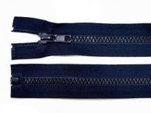 Zdrhovadlo zip kostěný 25 cm dělitelný temně modrá
