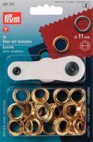Průchodky PRYM kovové 11mm mosaz s podložkou