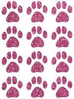Nažehlovací aplikace třpitivá psí stopy růžová