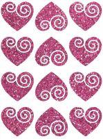 Nažehlovací aplikace třpitivá srdíčka 2 růžová