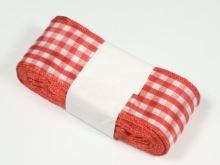 Stuha žakárová 40mm kostka, červená