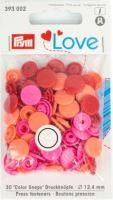 Prym LOVE plastové patentky Color snaps růžová, oranžová, červená