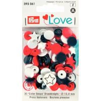 Prym LOVE plastové patentky Color snaps hvězdičky bílo-modro-červené