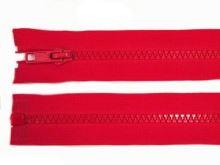 Zdrhovadlo zip kostěný 60 cm dělitelný červená