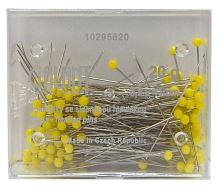 Špendlíky se žlutou skleněnou hlavou 0,6x43mm