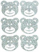 Nažehlovací aplikace třpitivá medvědi stříbrná