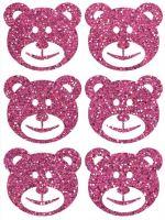 Nažehlovací aplikace třpytivá medvědi růžová