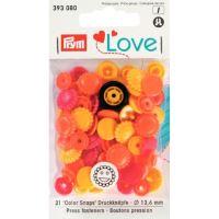 Prym LOVE plastové patentky Color snaps květiny žluto-oranžovo-červené