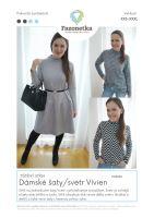 Tištěný střih dámské šaty/svetr Vivien vel. XXS-XXXL